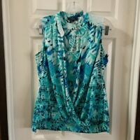 Alfani Women's Blue/Turquoise Print Scoop Neck Sleeveless Blouse 8