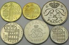 MONACO 10, 20 Centimes, 1/2, 1, 2, 5 Francs 1982 - 6 coins - 990 ¤