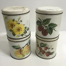 SET OF 4X VINTAGE WILLOW AUSTRALIA. CANISTER TINS - FEATURING FRUIT & FOLIAGE