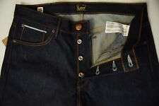 Men Lee 101 KC Dry Contoured Slim Selvedge Jeans Sz 30x34 Raw Button Fly USA