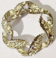 broche bijou vintage couronne incrusté de cristaux diamant couleur argent *4755