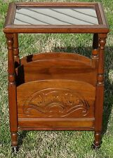 Antique FERGUSON BROS. Mfg. Co. Mahogany Magazine Rack Rolling Side Table Stand