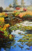 "Big Original Acrylic Water Lilies Art Landscape on Canvas by Hunoz 30""x 48"""