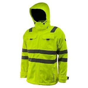 Mens Hi Vis Softshell Jacket Waterproof and Windproof Hooded Coat