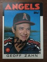 GEOFF ZAHN 1986 TOPPS AUTOGRAPHED SIGNED AUTO BASEBALL CARD ANGELS 42