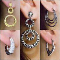Ns19 Magnificent Diamanté Encrusted Diamond Shaped Sleek Metal Stud Earrings