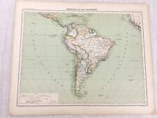 1898 French Map of South America Political 19th Century Antique Original