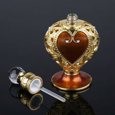Antique Empty Coffee Crystal Cut Glass Metal Perfume Bottle Stopper Home Decor