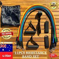 11PCS Resistance Band Tube Set Home Gym Training Excercise Fitness Crossfit Hard