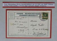 BP32) Schweiz Postkarte Coupe Aéronautic Gordon Bennett 1922 Geneve 6.VIII.22