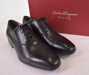 Salvatore Ferragamo NWB Boston Oxfords Size 8.5 E In Nero/Black Calf $595