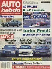 AUTO HEBDO n°651 du 16 Novembre 1988 BMW M3 EVO MERCEDES 300E SAAB 9000 T JAG2.9