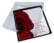 4x Red Rose 'Nan Love Sentiment' Picture Table Coasters Set in Gift Box, GRA-R6C