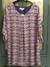 Pink Rose Women Size Large Navy Mint Tile V-Neck Dress 3/4 Sleeves NWT
