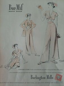 1947 womens  Burlington Mills Christmas pajamas lingerie Bolegard fashion art ad