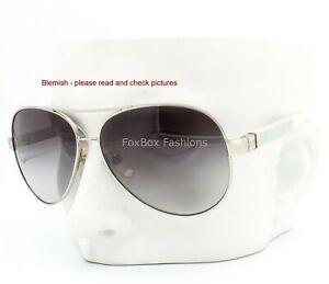 Chanel 4195Q 124/3C Sunglasses Aviator Silver / Quilted White Leather Blemish