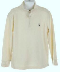 NWT $55.00 Polo Ralph Lauren Big Boys Chic Cream Half Zip Sweater French Rib