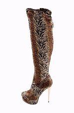 Stiletto Clear Heel High Boots Tiger Brown Black Animal Studded Zip platform