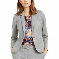 CALVIN KLEIN Women's Petite Windowpane-print Lined Blazer Jacket Top TEDO