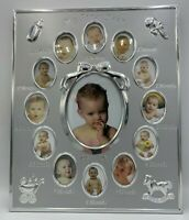 NWOT My First Year Baby Photo Frame Silver 12 Small Oval Windows & 1 Large