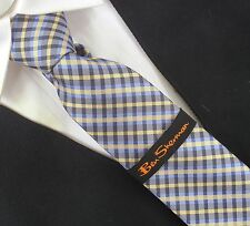 BEN SHERMAN slim collection tie YELLOW BLUE GRAY PLAID