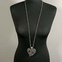 STATEMENT Long Heart Pendant Necklace Silver Tone Boho Artsy Gothic Steampunk