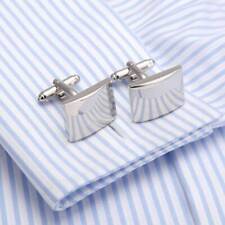 Stainless Steel Classic Smooth Curved Rectangle Silver Plated Plain Cufflinks