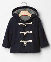 Baby GAP Boys NEW Size 0-6 Mo Navy Blue Toggle Wool Coat Hood Jacket Parka $58