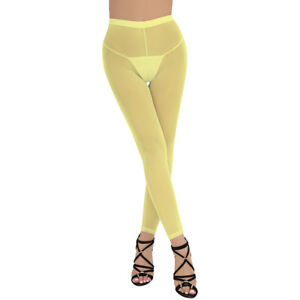 Women's Mesh Sheer Trousers See-through Lingerie Tights Cover up Pants Leggings
