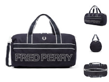 FRED PERRY Barrel Bag L2206 Web Canvas Carry Duffle Shoulder Navy Bags BNWT R£65