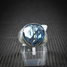 Ring Gr. 59, Silber 925, mit einem blauen Edeltopas aus Brasilien