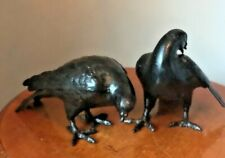 "PAIR dove bird bronze cast iron statue Pigeon 8"" Taisho OKIMONO sculpture 6lbs"