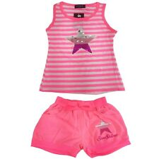 Girls Kids Star Sequin Reversible Top Short Set Outfit 2 Pcs Vest Top  2-12 Year