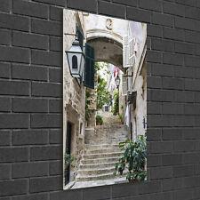 Wandbild Kunst-Druck auf Hart-Glas senkrecht 50x100 Straßen von Dubrovnik