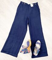 M&S Sz 12 Flowing Flared Trousers ladies Linen Blend Regular NWT Navy Blue