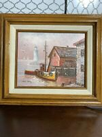 Vintage Original SIGNED Oil on Canvas HARBOR PAINTING by MAX SAVY-Gallery Housed