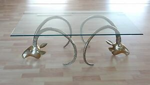 Rams head Ibex hollywood regency brass table in style of chervet