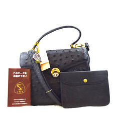 Authentic JRA Official Hand Bag Ostrich Skin Leather Black Whith Pouch 03R105