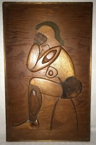 Vtg Folk Art Carved Wood Nude Woman Thinking Raised Puzzle 3D Wall Plaque Panel