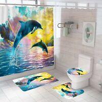 Dolphin Bathroom Rug Set Shower Curtain Non Slip Toilet Lid Cover Bath Mat