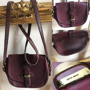 Dooney & Bourke Vintage - Ox Blood Leather Small Shoulder Cross Body Saddle Bag