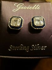 Gioielli Sterling silver Earrings With Cz And Blue Stones. FREE SHIPPING