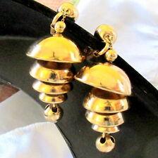 Vtg Rare Runway Napier Gilt Temple Bells Chandelier Dangle Earrings Book Piece