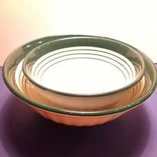 ROMA Inc Made in Italy Large  & Medium White w/Green Stripped Ceramic Bowls. 2pc