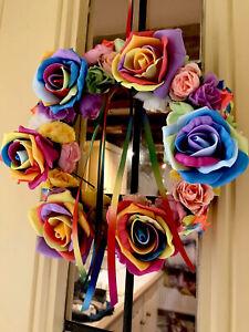 Rainbow Wreath Door Wreath Silk And Foam Flowers Rainbow Floral