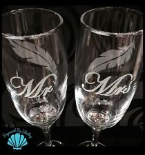 Pair Of Personalised Wedding Valentines Champagne Flutes Feathers Handmade Gift!
