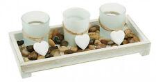 Deko-Set Tablett Landhaus mit 3 Windlichtern weiß neu inkl. Deko Holz