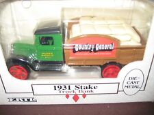 1931 ERTL DIECAST STAKE COUNTRY GENERAL HUSKER HARVEST TRUCK BANK NEW IN BOX