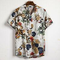 Mens Ethnic Buttons Short Sleeve Cotton Linen Printing Hawaiian Shirt Blouse UK
