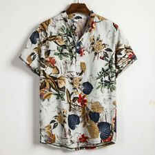 Camisa Masculina Manga Curta Botões Étnico Algodão e Linho impressão Blusa Camisa Havaiana Uk